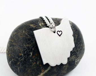 Silver I Love Cleveland Ohio Necklace