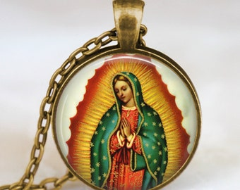 Our Lady of Guadalupe pendant, blessed Virgin mary necklace, religious glass dome pendant, catholic jewelry, christian jewelry pendant