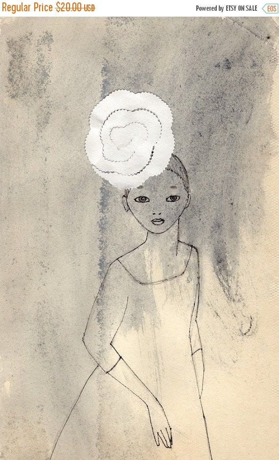 CHRISTMAS SALE Girl with a Big Flower Hat Deluxe Edition Print of original drawing