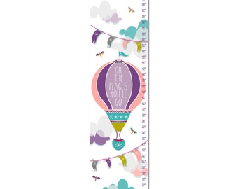 Custom Canvas Growth Chart - Oh The Places You'll Go Hot Air Balloon - Purple
