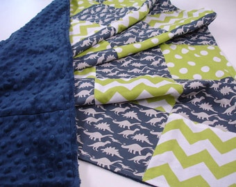 Dinosaur Parade Navy and Lime Patchwork Minky Blanket READY TO SHIP