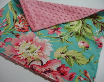 Bliss Bouquet with Coral Minky Baby Burp Cloth 15 x 16 READY TO SHIP