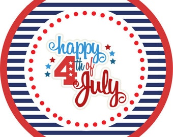 4th of July / Independence Day / American Flag /  STICKERS / Cupcake Toppers / labels /Thank You Tags in various sizes