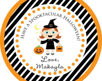 Happy Halloween Spooktacular Witch Thank You PERSONALIZED Stickers, Tags, Labels, or Cupcake Toppers, various sizes, printed & shipped