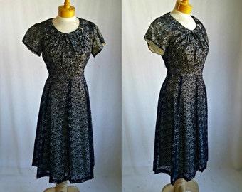 1940s/1950s  Flocked Print Sheer Overlay on Satin Under-Dress -Vintage 40s 50s Dress - Med/Lg