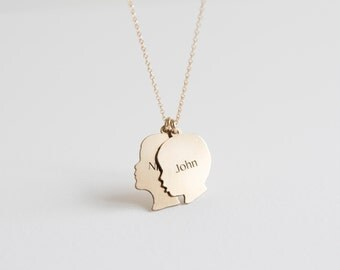 Mother's Day Jewelry Gift Gold Silhouette Charms New Mom Necklace Custom Silhouette Charm Silver or 14K Gold Custom from Your Photos