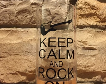 Keep Calm and Rock On glass decorative vase