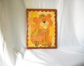 Vintage J Hand Calico Lion Decoupage Print