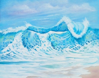"Oil Painting Large Wave Beach Seascape 24"" x 24"""