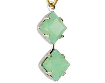 Green Opal Faceted Square Glass Stones Double 1 Loop Silver Plated Setting 6mm (4) squ013PP3