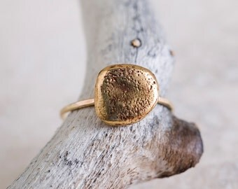 14k Solid Gold Small Rock Ring | Statement Ring | Stacking Ring | Nature Inspired
