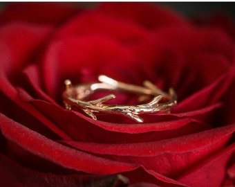 Valentines Day Sale Rose Gold Vermeil Twig Ring   Stacking Ring   Vermeil Ring