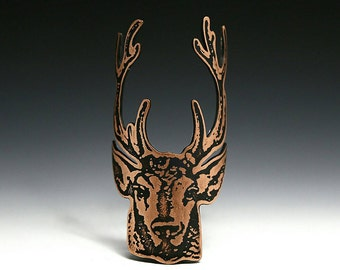 Stag - bicycle accessories, bike badge, bicycle badge, head badge, bike art, deer head, antlers, etched copper, etched metal, stag head
