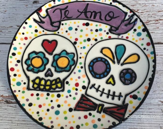 Ceramic Sugar Skull plate TE AMO