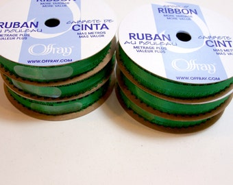 Green Ribbon, Double-faced Kelly green satin picot edge ribbon 3/16 inch wide x 36 yards