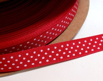 Red Ribbon, Red Swiss Dot Grosgrain Ribbon 5/8 inch wide x 10 yards, Offray Ribbon