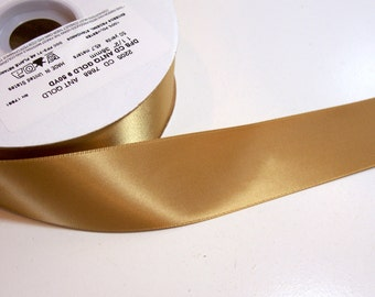 Gold Ribbon, Double-Faced Gold Satin Ribbon 1 1/2 inches wide x 50 yards, Offray Antique Gold Ribbon