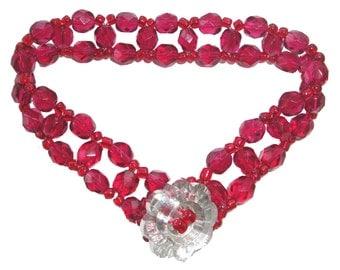 Crystal Bracelet - Beadweaving Kit - CRANBERRY