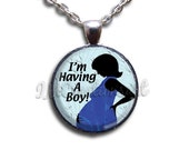 I'm Having Boy Girl Twins Dome Pendant with Chain Link Necklace  WD130
