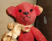 Antique Quilt Bear | Old Quilt Bear | Jointed Bear |  SMALL Bear 6 Inches Tall |  Hand Sewn