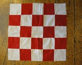 Old Red And White Fabric Quilt Square | Unfinished Antique Quilt Square | Vintage Homespun Quilt Piece | LISTING is for 1 QUILT PIECE
