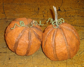 Primitive Handmade Paper Mache Pumpkins Set Of 2