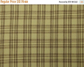 40% OFF SALE Plaid Homespun Material Marlene & Lacy Troyer Plaids MT-012 Spring Green And Brown 58 x 44
