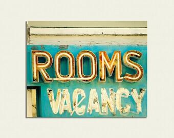 Canvas print Housewarming gift photography motel sign vintage sign photo peeling paint pumpkin aqua turquoise guest room decor roadtrip