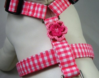 Dog Harness - Pink Gingham