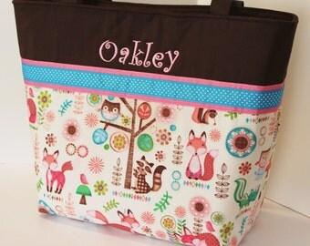 Personalized Diaper Bag . Regular size . Little Fox Turquoise & Pink  . monogrammed FREE . girl diaper bag .  fox diaper bag