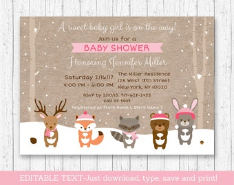 Winter Woodland Animals Baby Shower Invitation / Winter Baby Shower / Winter Forest Animals / Pink / Editable PDF INSTANT DOWNLOAD A121
