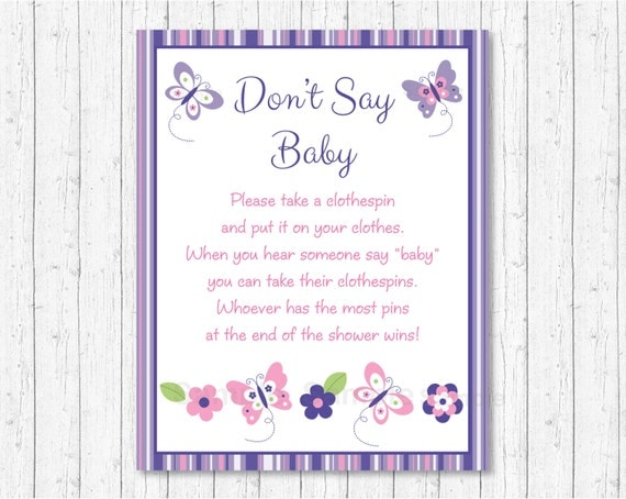 photo about Don T Say Baby Game Printable referred to as Facts relating to Purple Crimson Butterfly Dont Say Kid Little one Shower Activity Printable