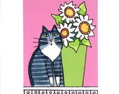 Cat Lover Art Print/ Maine Coon Gray Tuxedo Tabby with Daisies by Susan Faye