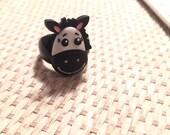Happy Horse on Black Acrylic Ring