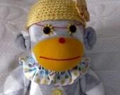 Sock Monkey, Sock Animal, Sock Monkey Doll, Grey and Gold Monkey, Girl Sock Monkey, Plush Sock Monkey, Sock Monkey Softie, Stuffed Animal