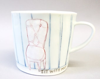 Sit with me - porcelain cup with translucent bottom