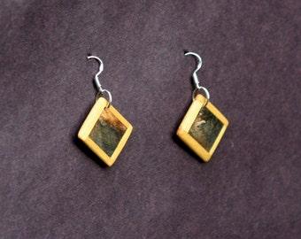 Buckey Burl and Yellowheart Wood Earrings J160506