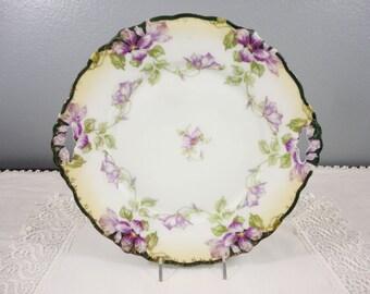 Antique Cake Plate Purple Clematis - Malmaison - J & C, Germany - 1900 - Floral Cake Plate
