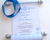 Winter wedding invitations, snowflakes invitation scroll, blue and silver, elegant wedding invitation, fairytale wedding invitation, SAMPLE