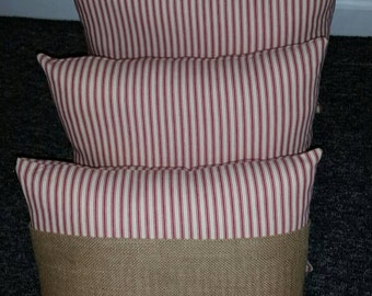 Red ticking or Burlap pillows