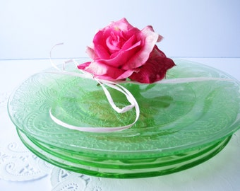 Vintage Green Depression Glass Mismatched Luncheon Plates Set of Four