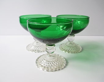 Vintage Anchor Hocking Green Bubble Sherbets/Champagne Glasses Set of Three