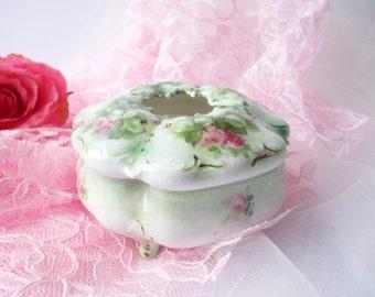 Vintage Pink Rose Porcelain Hair Receiver - Weddings Bridal
