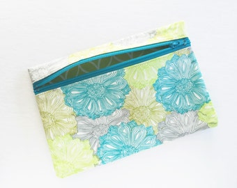 Blue floral Zipper Pouch Coin Purse Garden Bloom Print Cotton