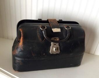 1920s vintage doctors bag- leather