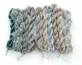 10 mini skeins, hand dyed yarns, assorted fibres - grey, silver, smoke, beige, light brown, neutral colours, cotton, linen, silk, viscose