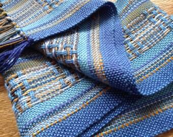 handwoven cornflower blue spring scarf