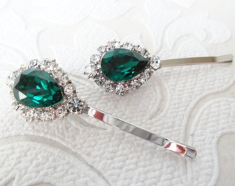 Emerald Green Bridal Hair Pins with Swarovski Crystal on Strong Bobby Pin for Vintage Art Deco Hair Style or Victorian Wedding Headpiece