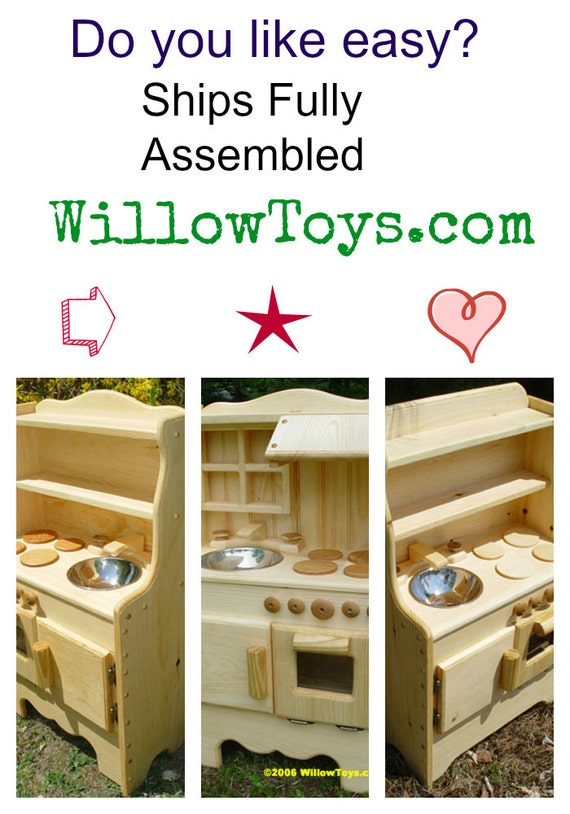 No Assembly Required, Waldorf toy kitchen,  Wooden play kitchen, wooden toy kitchen, play stove,all natural, real wood