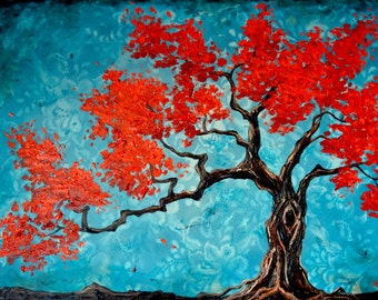 Lace dream Red Bonsai, Original oil Painting, turquoise, red bonsai, zen inspired